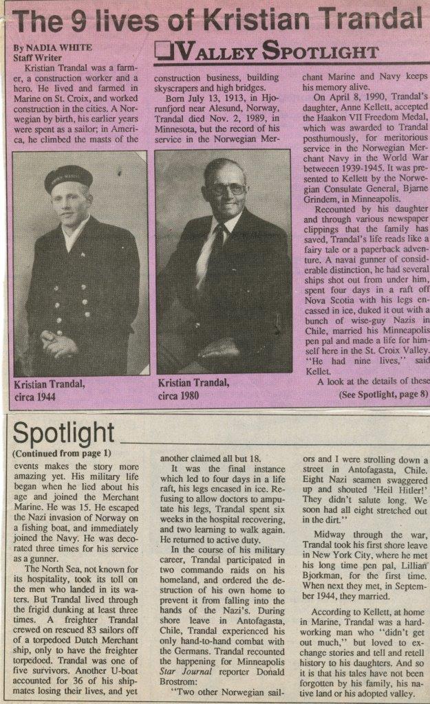 Kristian Trandal Marine on St Croix MN Farmer Laborer Norwegian War Hero WWII Kellett